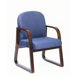 Boss Reception Room Chair, Mahogany/Blue