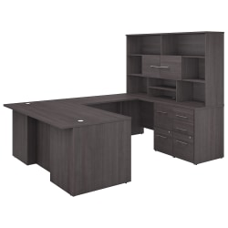 "Bush Business Furniture Office 500 72""W U-Shaped Executive Desk With Drawers And Hutch, Storm Gray, Premium Installation"