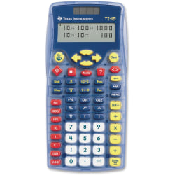 """Texas Instruments TI-15 Explorer Elementary Calculator - Auto Power Off, Dual Power, Plastic Key, Impact Resistant Cover - 2 Line(s) - 11 Digits - Battery/Solar Powered - 6.9"""" x 3.5"""" x 0.7"""" - Blue - 1 Each"""