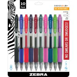 Zebra® Sarasa® Gel Ink Retractable Pens, Medium Point, 0.7 mm, Clear Barrels, Assorted Ink Colors, Pack Of 10