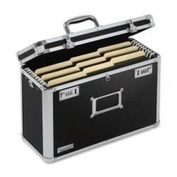 "Vaultz® Locking Storage File Tote, Legal Size, 12 1/4"" x 16 3/4"" x 7 1/4"", Black"