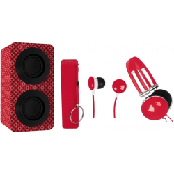 Naxa NAS-3061A Portable Bluetooth Speaker System - Red - 100 Hz to 20 kHz - Battery Rechargeable