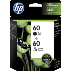 HP 60 Black/Tricolor Ink Cartridges (N9H63FN#140), Pack Of 2