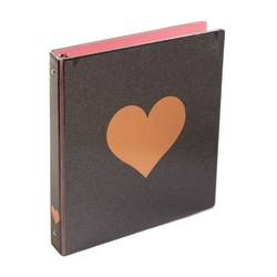 "Divoga® Hearts Round-Ring Fashion Binders, 1"" Rings, Black/Rose Gold"