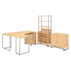 """kathy ireland® Office by Bush Business Furniture Method 72""""W L-Shaped Desk With 30""""W Return, File Cabinets And Bookcase, Natural Maple, Standard Delivery"""