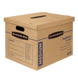 "Bankers Box® SmoothMove Classic Moving Boxes, Medium, 14"" x 15"" x 18"", 85% Recycled, Kraft, Pack Of 8"