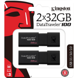 Kingston DataTraveler 100 G3 USB Flash Drive - 32 GB - USB 3.0 - 100 MB/s Read Speed - Black - 5 Year Warranty - 2 Pack