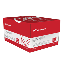 "Office Depot® Copy And Print Paper, Letter Size (8 1/2"" x 11""), 20 Lb, Bright White, Ream Of 500 Sheets, Case Of 3 Reams"