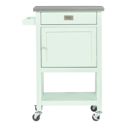 """Linon Home Decor Products Victoria 36""""H Apartment Cart With Stainless-Steel Top, Light Green"""