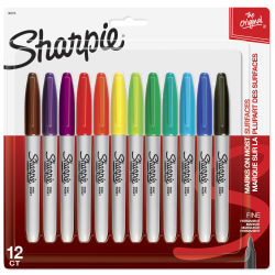 Sharpie® Permanent Fine-Point Markers, Assorted Colors, Pack Of 12 Markers
