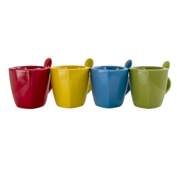 Gibson Home Primary Colors Stoneware Soft Square Cups, 10 Oz., Assorted Colors, Set Of 4 Cups With Matching Spoons
