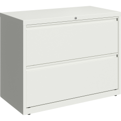 """Lorell 36""""W Lateral 2-Drawer File Cabinet, Metal, White"""