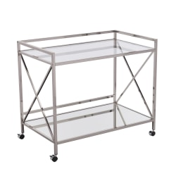 "Southern Enterprises Maxton Bar Cart, 32-1/4""H x 38-3/4""W x 23-1/4""D, Polished Silver"