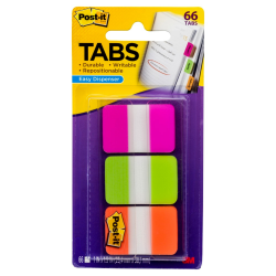 "Post-it® Notes Durable Filing Tabs, 1"" x 1-1/2"", Green/Orange/Pink, 22 Flags Per Pad, Pack Of 3 Pads"