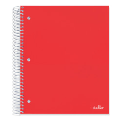 """Office Depot® Brand Stellar Poly Notebook, 8"""" x 10-1/2, 5 Subject, Wide Ruled, 200 Pages (100 Sheets), Red"""