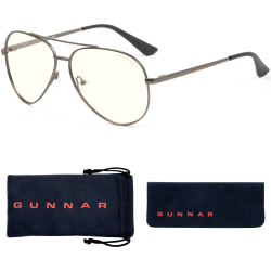 Gunnar Optiks Blue Light Blocking Maverick - Computer Glasses - Gunmetal - Clear - Gunmetal Frame/Clear Lens - Gunmetal Frame/Clear Lens