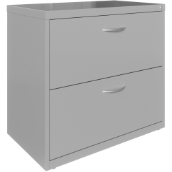 """Lorell® 36""""W Lateral 2-Drawer File Cabinet With Arc Pull, Silver"""