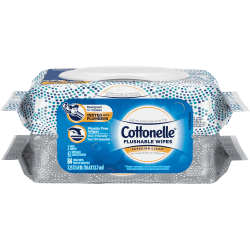 Cottonelle Flushable Wet Wipes Flip-Top Pack - 2 Pouches - White - Flushable, Quick Drying - 42 - 2 / Pack