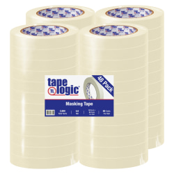 "Tape Logic® 2400 Masking Tape, 3"" Core, 0.75"" x 180', Natural, Pack Of 48"