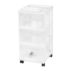 "Iris® Rolling Plastic 3-Drawer Storage Cart, 26 7/16"" x 12 1/16"" x 14 1/4"", White"