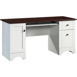 "Sauder® Select 60""W Double-Pedestal Computer Desk, Soft White/Cherry"