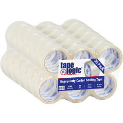 """Tape Logic® Acrylic Tape, 3"""" Core, 2"""" x 55 Yd., Clear, Pack Of 36"""