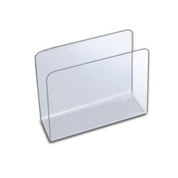 """Azar Displays Small Lateral Desk File Holders, 4-1/2""""H x 5-3/4""""W x 2-1/2""""D, Clear, Pack Of 4 File Holders"""