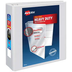 """Avery® Heavy-Duty View 3-Ring Binder With Locking One-Touch EZD™ Rings, 4"""" D-Rings, 54% Recycled, White"""