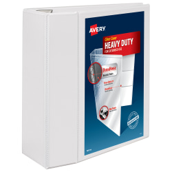 """Avery® Heavy-Duty View 3-Ring Binder DuraHinge™ With Locking One-Touch EZD™ Rings, 5"""" D-Rings, White"""