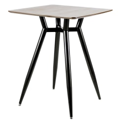 Lumisource Clara Mid-Century Modern Counter Table, Square, Walnut/Black