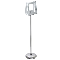 "Azar Displays 2-Pocket Acrylic Literature Holder Floor Stand, 46""H x 10""W x 10""D, Clear"