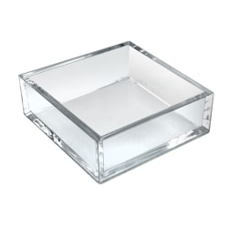 "Azar Displays Deluxe Square Trays, 2""H x 5-7/8""W x 5-7/8""D, Clear, Pack Of 4 Trays"