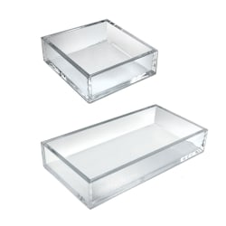 Azar Displays Deluxe Tray 3-Piece Set, Square Trays/Large Tray, Clear