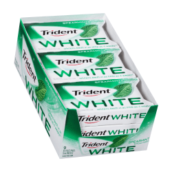 Trident® White Spearmint Sugar-Free Gum, 16 Pieces Per Box, Pack Of 9 Boxes