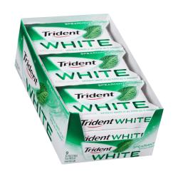 Trident® White Spearmint Sugar-Free Gum, 16 Pieces Per Box, Pack Of 9 Boxes
