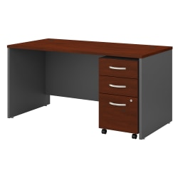 """Bush Business Furniture Components 60""""W Office Desk With 3-Drawer Mobile File Cabinet, Hansen Cherry/Graphite Gray, Standard Delivery"""