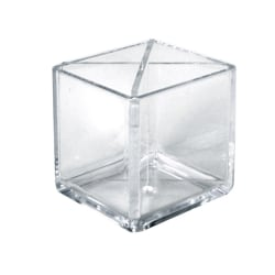 "Azar Displays Cube Pencil Holders With Divider, 4""H x 4""W x 4""D, Clear, Pack Of 2 Holders"