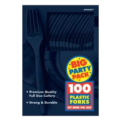 "Amscan Mid-Weight Forks, 7-1/4"", True Navy, 100 Forks Per Pack, Set Of 2 Packs"