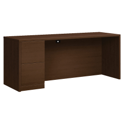 "HON® 10500 Series Left Pedestal Credenza With 2 File Drawers, 72"" x 24"", Mocha"
