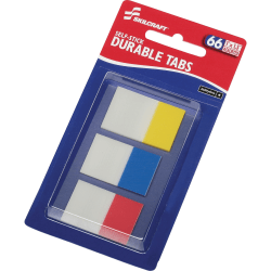 "SKILCRAFT Self-stick Durable Tabs - 1.50"" Tab Height x 1"" Tab Width - Self-adhesive - Assorted Tab(s) - 66 / Pack - TAA Compliant"