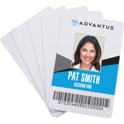 "Advantus Blank PVC ID Cards - Printable - 2.13"" x 3.38"" Length - 100 - White - Polyvinyl Chloride (PVC)"