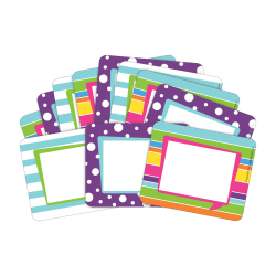 """Barker Creek Name Tags, 3 3/4"""" x 2 1/2"""", Happy, 45 Name Tags Per Pack, Case Of 2 Packs"""