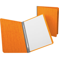 "Oxford Letter Recycled Report Cover - 3"" Folder Capacity - 8 1/2"" x 11"" - 2 Fastener(s) - Pressguard - Tangerine - 65% - 1 Each"