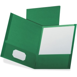 "Oxford Letter Recycled Pocket Folder - 8 1/2"" x 11"" - 100 Sheet Capacity - 2 Pocket(s) - Dark Green - 35% - 25 / Box"