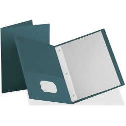 "Oxford Twin Pocket 3-hole Fastener Folders - Letter - 8 1/2"" x 11"" Sheet Size - 135 Sheet Capacity - 3 x Tang Fastener(s) - 2 Inside Front & Back Pocket(s) - Leatherette Paper - Teal - Recycled - 25 / Box"
