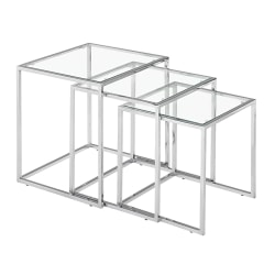 Zuo Modern Pasos Nesting Tables, Square, Clear/Chrome, Set Of 3 Tables