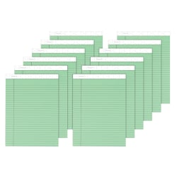 """TOPS™ Prism+™ Color Writing Pads, 8 1/2"""" x 11 3/4"""", 100% Recycled Legal Ruled, 50 Sheets, Green, Pack Of 12 Pads"""
