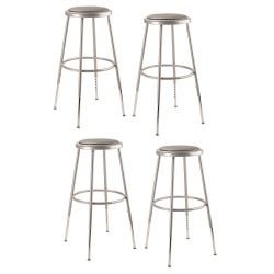 "National Public Seating Adjustable Vinyl-Padded Stools, 25 - 32 1/2""H, Gray, Set Of 4"