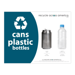 """Recycle Across America Cans And Plastics Standardized Recycling Labels, CP-8511, 8 1/2"""" x 11"""", Dark Teal"""
