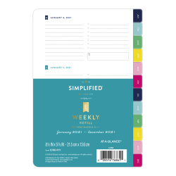 "Emily Ley Simplified System Weekly Refill, 5-1/2"" x 8-1/2"", Black/White, January To December 2021, EL100-4111"